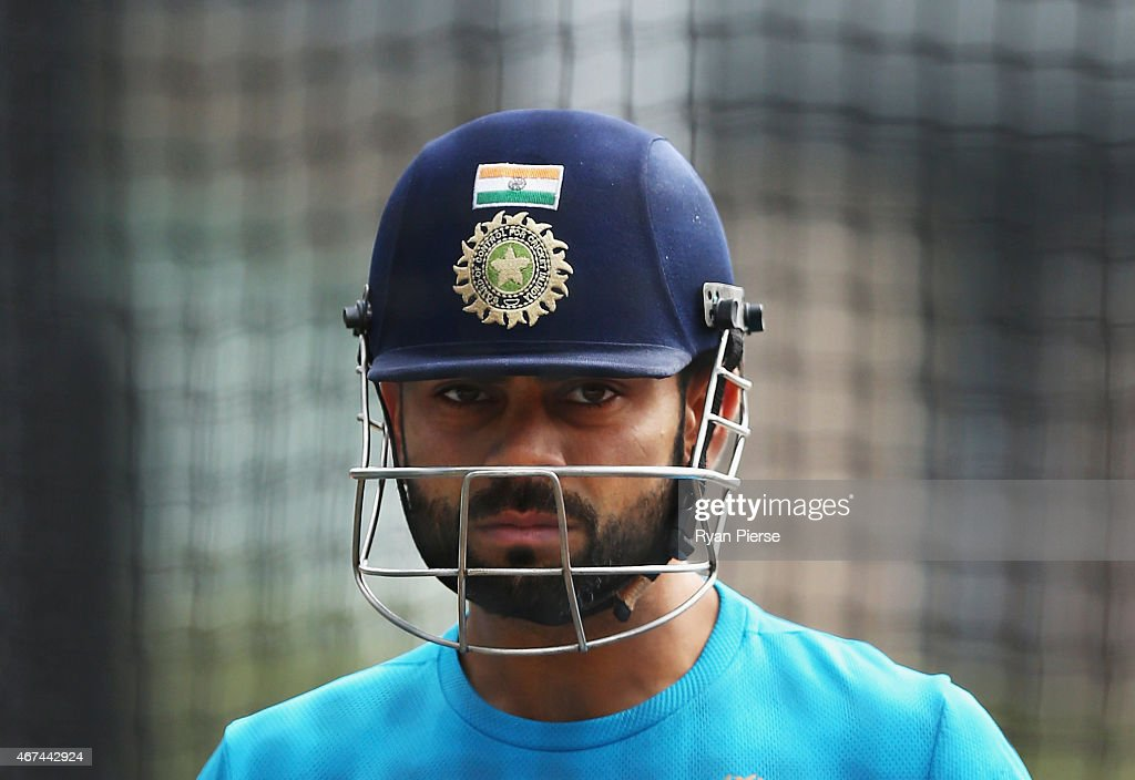 <a gi-track='captionPersonalityLinkClicked' href=/galleries/search?phrase=Virat+Kohli&family=editorial&specificpeople=4880246 ng-click='$event.stopPropagation()'>Virat Kohli</a> of India looks on during the India nets session at Sydney Cricket Ground on March 25, 2015 in Sydney, Australia.