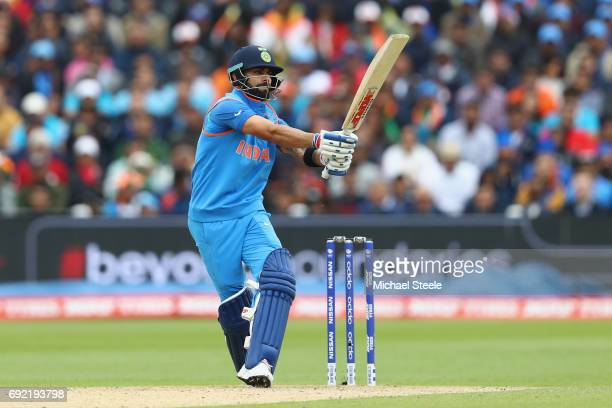Virat Kohli of India plays to the legside during the ICC Champions Trophy match between India and Pakistan at Edgbaston on June 4 2017 in Birmingham...