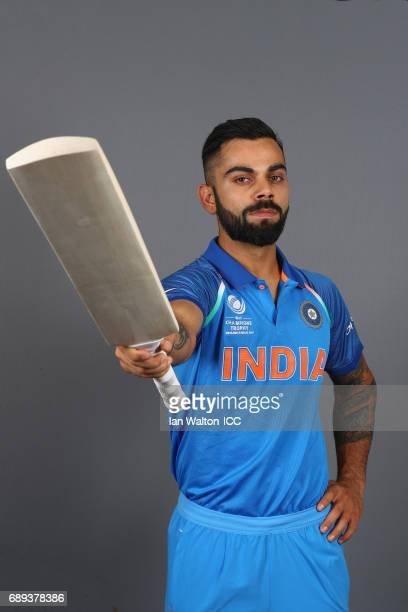 Virat Kohli of India poses during an India Portrait Session ahead of ICC Champions Trophy at Grange City on May 27 2017 in London England