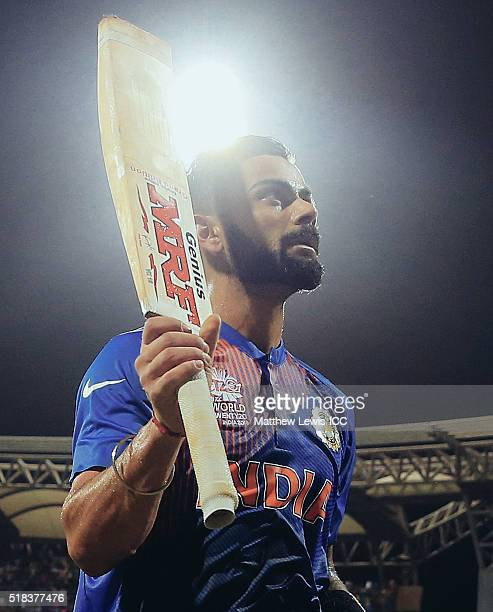 Virat Kohli of India salutes the crowd after his innings during the ICC World Twenty20 India 2016 SemiFinal match between West Indies and India at...