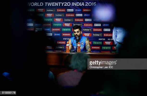 Virat Kohli of India talks to the media during the India Training and Press Conference at the Vidarbha Cricket Association Stadium on March 14 2016...