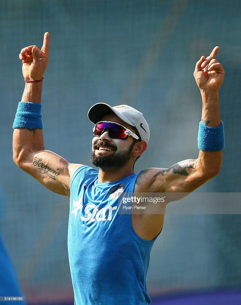 <a gi-track='captionPersonalityLinkClicked' href=/galleries/search?phrase=Virat+Kohli&family=editorial&specificpeople=4880246 ng-click='$event.stopPropagation()'>Virat Kohli</a> of India trans during an India training session at Wankhede Stadium on March 30, 2016 in Mumbai, India.