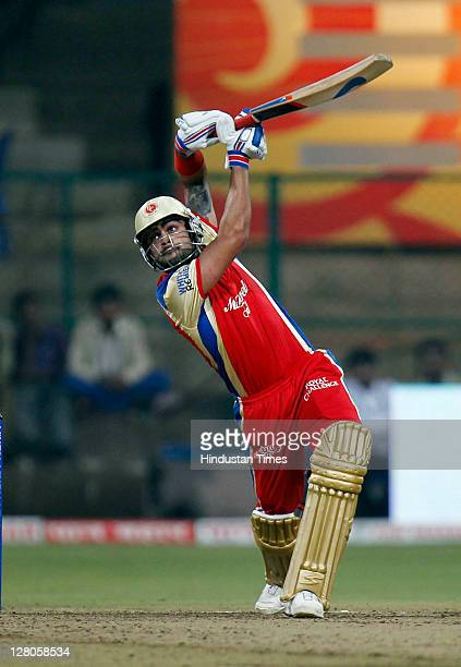 Virat Kohli of Royal Challenge Bangalore in action during the Champions League Twenty20 Group B match between Royal Challengers Bangalore v South...