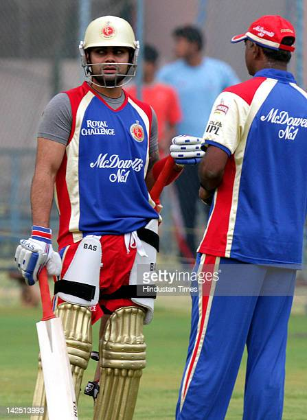 Virat Kohli of Royal Challengers Bangalore looks on during a practice session at MChinnaswamy Stadium on April 6 2012 Royal Challengers Bangalore...