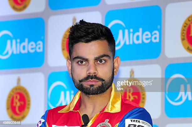 Virat Kohli player of Royal Challengers Bangalore during a press conference to announce the partnership of Carrier Midea India with Royal Challengers...