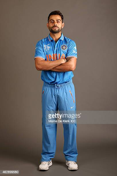 Virat Kohli poses during the India 2015 ICC Cricket World Cup Headshots Session at the Intercontinental on February 7 2015 in Adelaide Australia