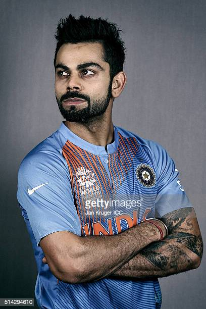 Virat Kohli poses during the India Headshots session ahead of the ICC Twenty20 World Cup on March 8 2016 in Kolkata India