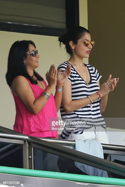 Virat Kohli's partner Anushka Sharma looks on during day four of the Fourth Test match between Australia and India at Sydney Cricket Ground on...