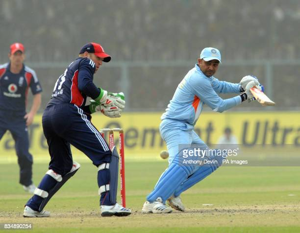 Virender Sehwag bats during the Third One Day International at the Green Park Stadium in Kanpur India