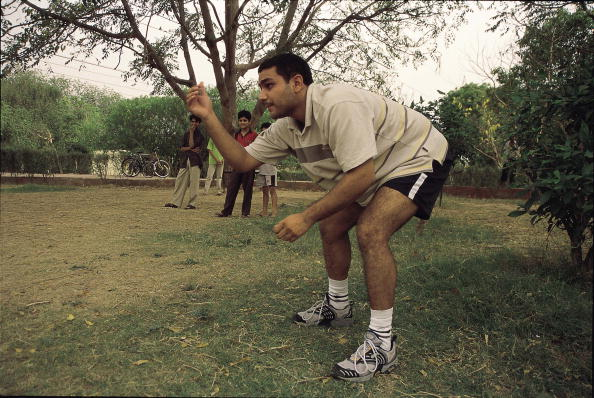 Virender Sehwag, Cricket Player practicing in a park ( Sports, Side Profile ) : News Photo