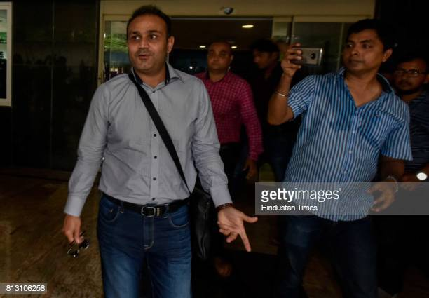 Virender Sehwag leaves after giving interview for Indian cricket team coach at BCCI headquarters on July 10 2017 in Mumbai India Ravi Shastri has...
