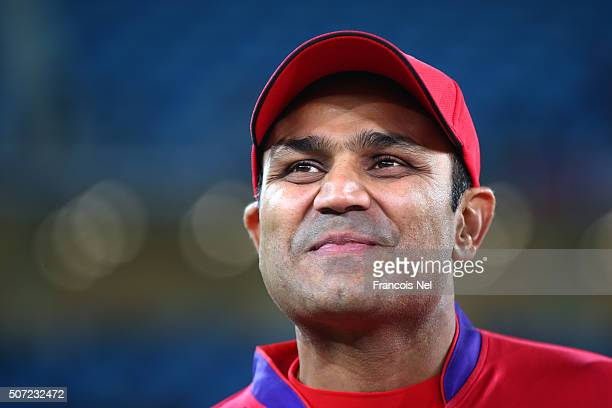 Virender Sehwag of Gemini Arabians looks on during the opening match of the Oxigen Masters Champions League 2016 between Libra Legends and Gemini...