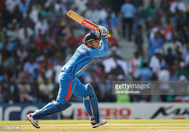 Virender Sehwag of India bats during the Group B ICC World Cup Cricket match between India and South Africa at Vidarbha Cricket Association Ground on...