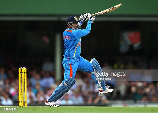 Virender Sehwag of India bats during the One Day International match between Australia and India at Sydney Cricket Ground on February 26 2012 in...
