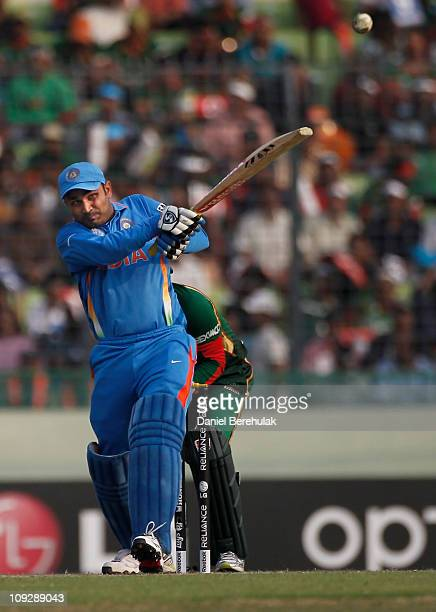 Virender Sehwag of India bats during the opening game of the ICC Cricket World Cup between Bangladesh and India at the ShereeBangla National Stadium...