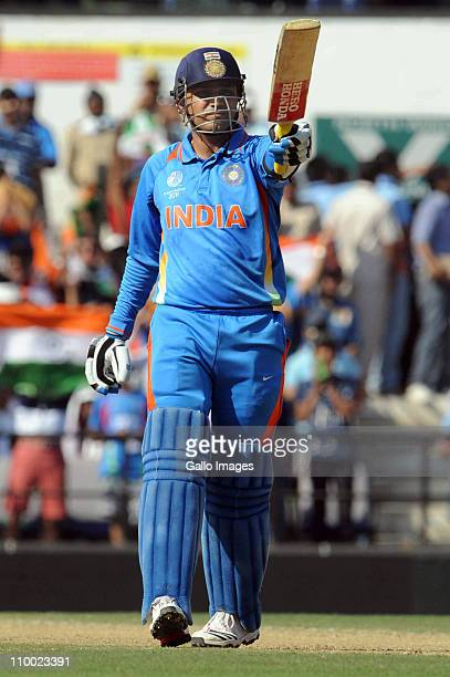 Virender Sehwag of India celebrates his 50 during the Group B ICC World Cup Cricket match between India and South Africa at Vidarbha Cricket...