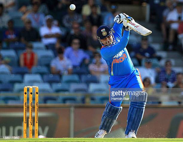 Virender Sehwag of India drives for four during the One Day International match between India and Sri Lanka at WACA on February 8 2012 in Perth...