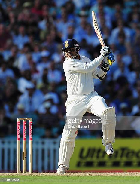 Virender Sehwag of India hits out during day four of the 4th npower Test Match between England and India at The Kia Oval on August 21 2011 in London...