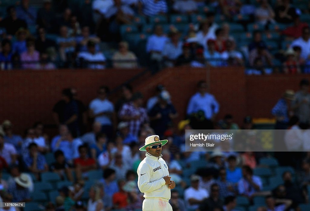 <a gi-track='captionPersonalityLinkClicked' href=/galleries/search?phrase=Virender+Sehwag&family=editorial&specificpeople=176591 ng-click='$event.stopPropagation()'>Virender Sehwag</a> of India looks on during day one of the Fourth Test Match between Australia and India at Adelaide Oval on January 24, 2012 in Adelaide, Australia.