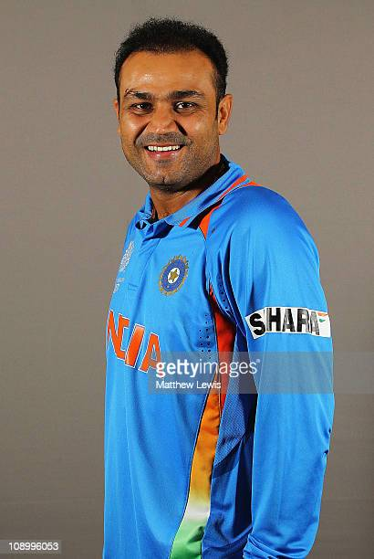 Virender Sehwag of India poses during a portrait session ahead of the 2011 ICC World Cup at the ITC Gardenia on February 11 2011 in Bangalore India