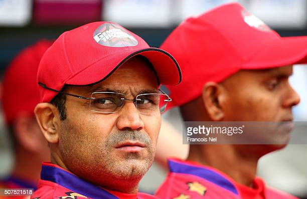 Virender Sehwag the Captain of Gemini Arabians looks on prior to the Oxigen Masters Champions League match between Gemini Arabians and Leo Lions on...