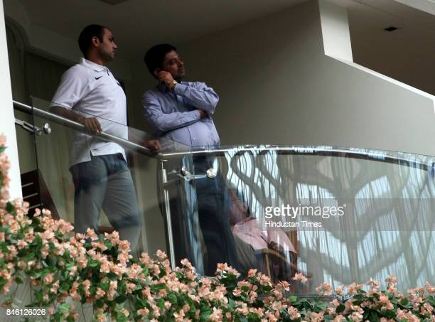 Virendra Sehwag and Ratnakar shetty befor their departur to South Africa for 2020 World cup at Centur Star hotel in Mumbai