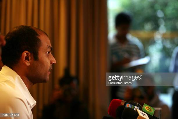 Virendra Sehwag during the press conferace at the centur star Hotel in Mumbai