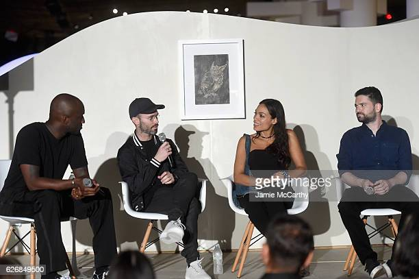 Virgil Abloh Daniel Arsham Rosario Dawson and Dan Trachtenberg speak at the 'Open Worlds Art In The Age Of Interactivity' panel in Miami at Audemars...
