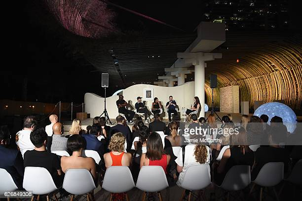 Virgil Abloh Daniel Arsham Rosario Dawson Dan Trachtenberg and Diane Solway speak at the 'Open Worlds Art In The Age Of Interactivity' panel in Miami...