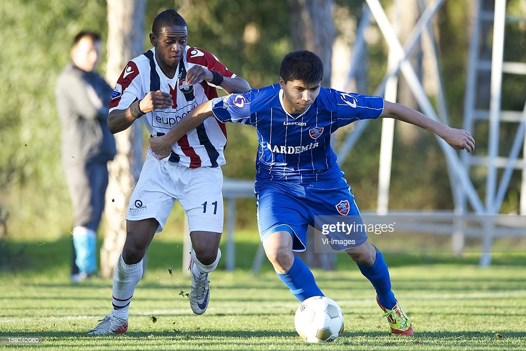 Virgil Misidjan of Willem II, Ishak Dogan of Karabukspor during the match between Willem II and Karabukspor on January 10, 2013 at Belek, Turkey.