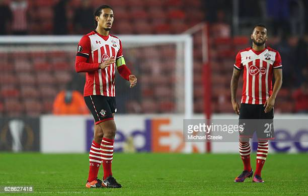 Virgil van Dijk and Ryan Bertrand of Southampton look dejected as they are eliminated after the UEFA Europa League Group K match between Southampton...