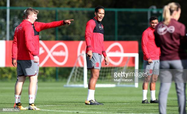 Virgil Van Dijk during a Southampton FC training session at the Staplewood Campus on October 12 2017 in Southampton England