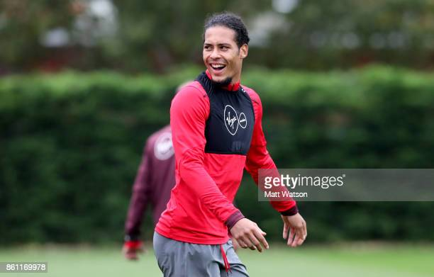 Virgil Van Dijk during a Southampton FC training session at the Staplewood Campus on October 13 2017 in Southampton England