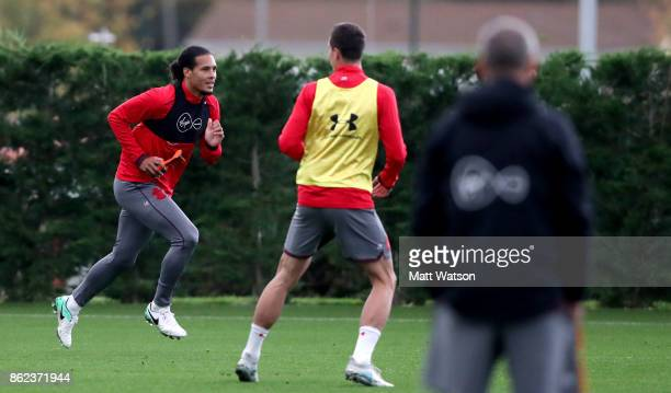 Virgil Van Dijk during a Southampton FC training session at the Staplewood Campus on October 17 2017 in Southampton England