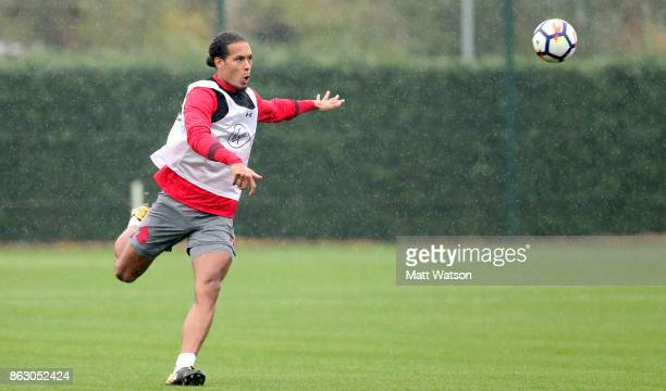 Virgil Van Dijk during a Southampton FC training session at the Staplewood Campus on October 19 2017 in Southampton England