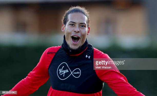Virgil Van Dijk during a Southampton FC training session at the Staplewood Campus on December 1 2017 in Southampton England