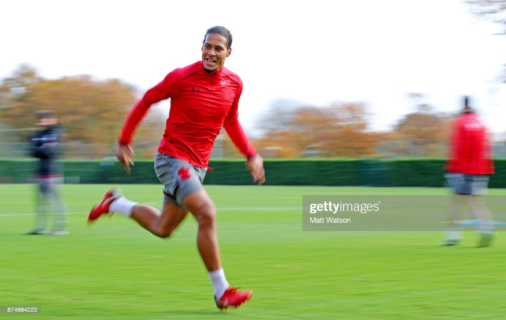 Virgil Van Dijk during a Southmpton FC training session at the Staplewood Campus on November 16, 2017 in Southampton, England.
