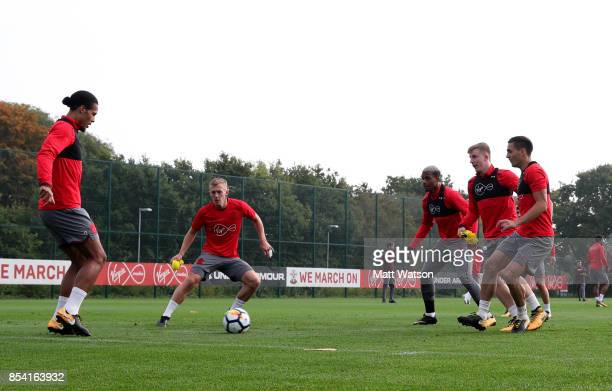 Virgil Van Dijk James WardProwse Mario Lemina Matt Targett and Dusan Tadic during a Southampton FC training session at the Staplewood Campus on...