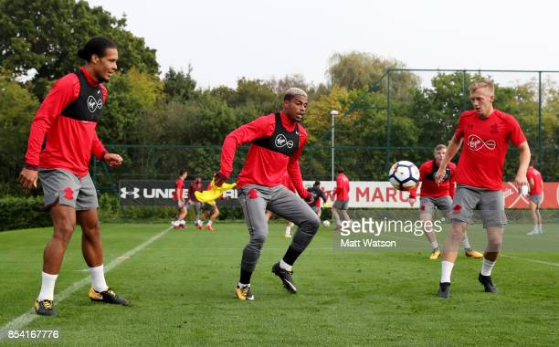 Virgil Van Dijk Mario Lemina and James WardProwse during a Southampton FC training session at the Staplewood Campus on September 26 2017 in...
