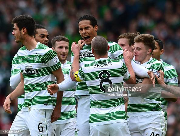 Virgil Van Dijk of Celtic celebrates scoring a goal with his team mates during the William Hill Scottish Cup Semi Final match between Inverness...