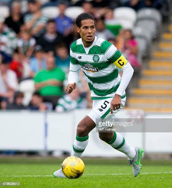 Virgil Van Dijk of Celtic in action against Den Bosch during the Pre Season Friendly between Celtic and De Bosch at St Mirren Park on July 01 2015 in...