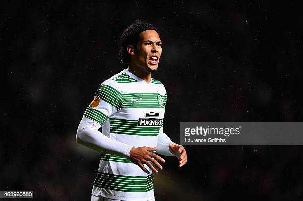 Virgil van Dijk of Celtic in action during the UEFA Europa League Round of 32 match between Celtic and FC Internazionale Milano on February 19 2015...