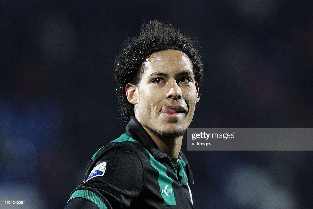 Virgil van Dijk of FC Groningen during the Dutch Eredivisie match between Willem II and FC Groningen at the Koning Willem II Stadium on march 30, 2013 in Tilburg, The Netherlands