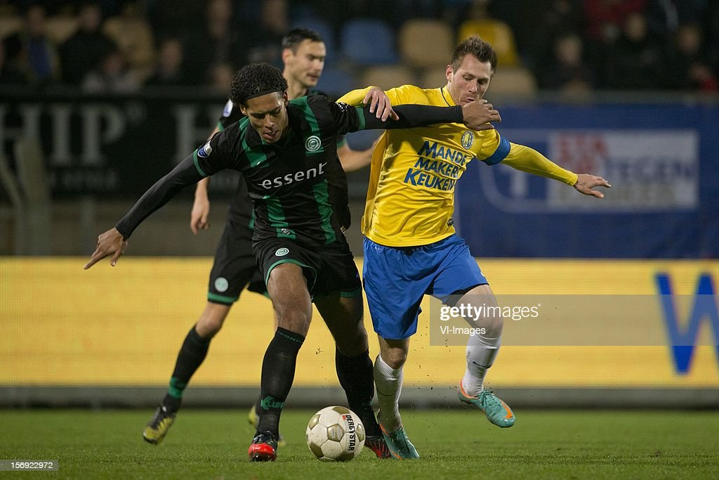 Virgil van Dijk of FC Groningen, Teddy Chevalier of RKC Waalwijk during the Dutch Eredivisie match between RKC Waalwijk and FC Groningen at the Mandemakers Stadium on November 24, 2012 in Waalwijk, The Netherlands.