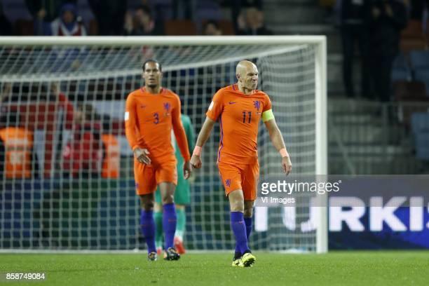 Virgil van Dijk of Holland Arjen Robben of Holland during the FIFA World Cup 2018 qualifying match between Belarus and Netherlands on October 07 2017...