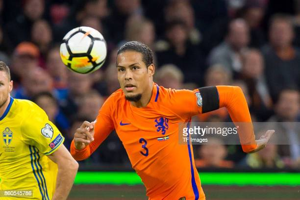 Virgil van Dijk of Netherlands controls the ball during the FIFA 2018 World Cup Qualifier between Netherlands and Sweden at Amsterdam ArenA on...