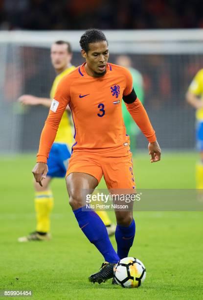 Virgil Van Dijk of Netherlands during the FIFA 2018 World Cup Qualifier between Netherlands and Sweden at Amsterdam ArenA on October 10 2017 in...