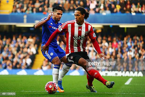 Virgil van Dijk of Southampton and Radamel Falcao Garcia of Chelsea compete for the ball during the Barclays Premier League match between Chelsea and...
