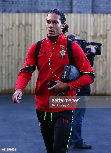 Virgil van Dijk of Southampton arrives at the stadium prior to the Premier League match between Burnley and Southampton at Turf Moor on January 14...