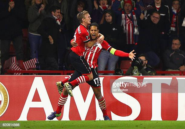 Virgil van Dijk of Southampton celebrates after scoring his team's first goal during the UEFA Europa League Group K match between Southampton FC and...